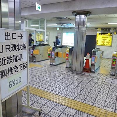 大阪メトロ千日前線・鶴橋駅改札口です(1ヶ所のみ)。