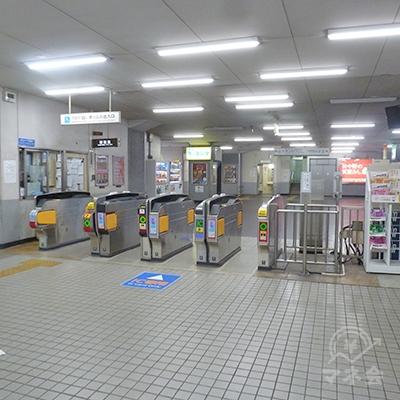 近鉄南大阪線・針中野駅の改札口です。同駅改札は1ヶ所のみです。