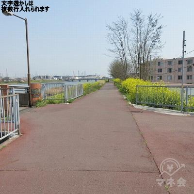 左手にある橋を渡らず、約450m直進します。