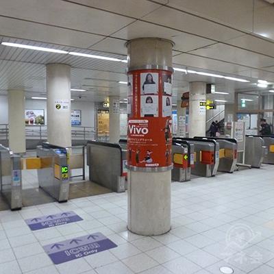 大阪メトロ谷町線・大日駅の改札口(1ヶ所のみ)です。