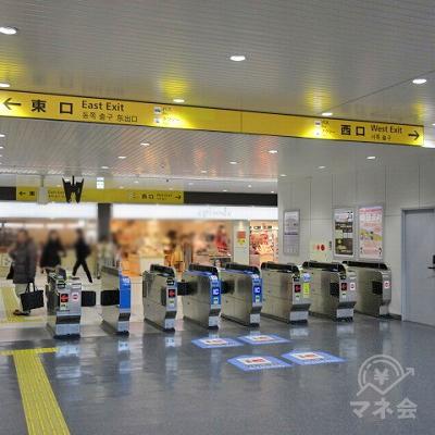 JR東海道本線(琵琶湖線)の草津駅改札(1つのみ)です。