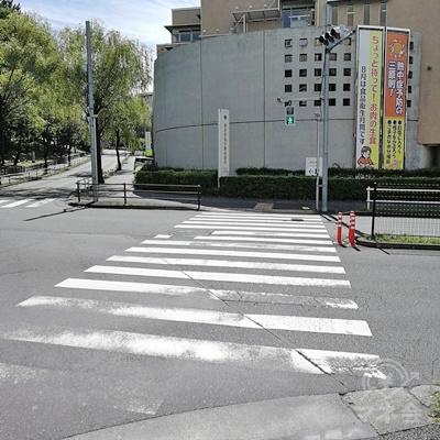 右に信号があり、信号の先に保健所があります。保健所の左の道を歩きます。