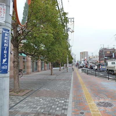 渡った後、大阪府道21号沿いの歩道を800mほど直進します。