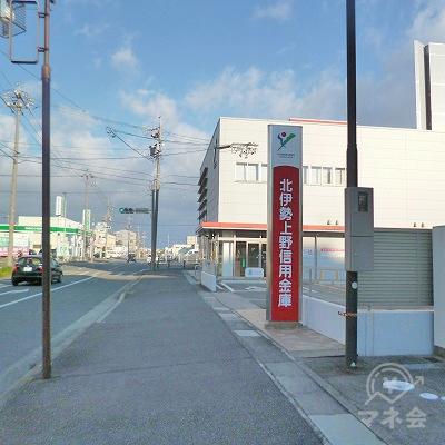 北伊勢上野信用金庫の先にある交差点を右折してください。