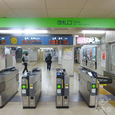 名鉄三河線の豊田市駅にて下車します。改札口は1つしかありません。