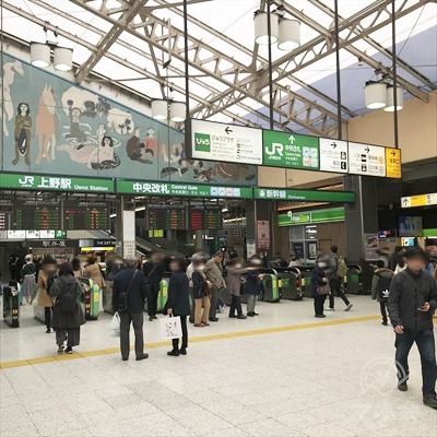 JR上野駅中央改札を出ます。