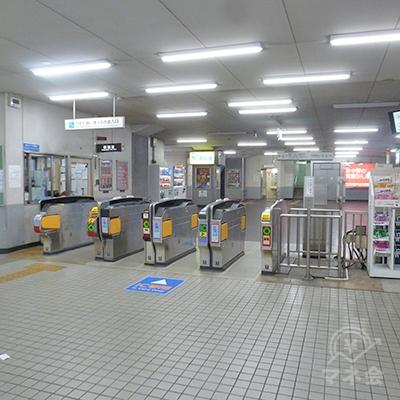 近鉄南大阪線・針中野駅の改札口です。同駅の改札はこの1ヶ所です。