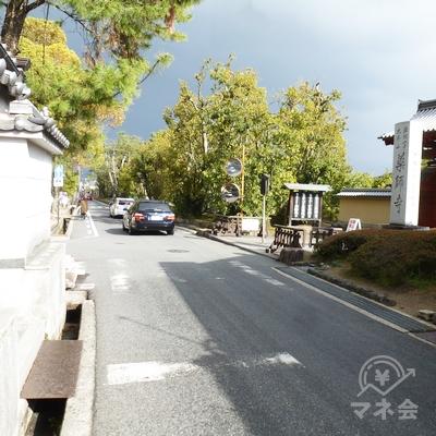 薬師寺(右)の前を通過します。しばらく細い道が続きます。